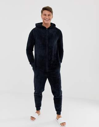 Asos DESIGN onesie in navy fleecy fabric