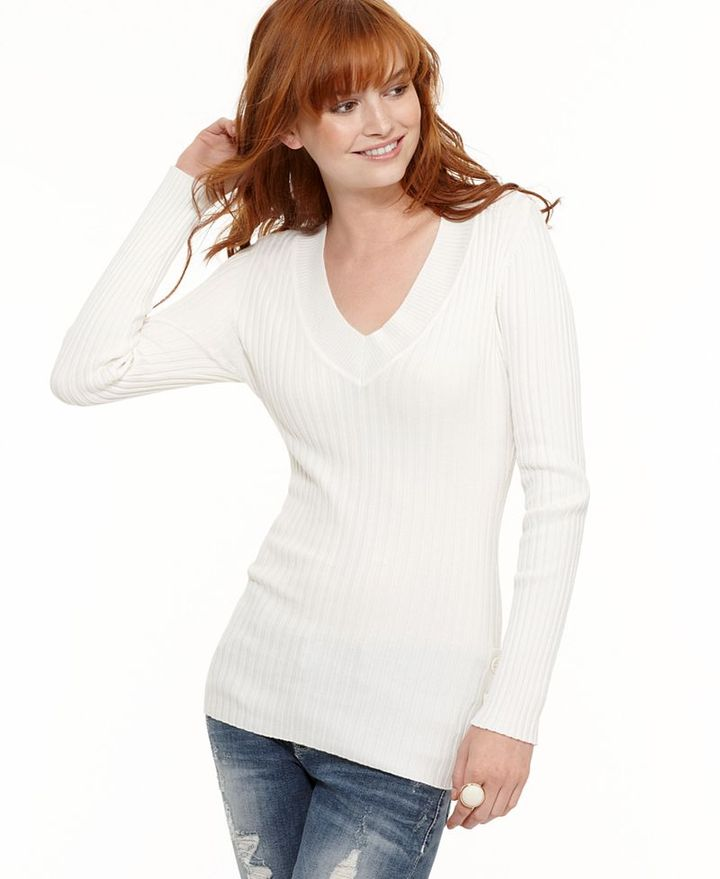 It's Our Time Sweater, V-Neck Long Sleeve Ribbed Knit Top