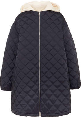 Jil Sander Hooded Cotton Poplin-trimmed Quilted Shell Jacket - Navy