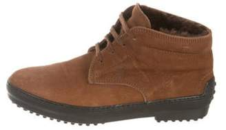 Tod's Suede Round-Toe Booties Brown Suede Round-Toe Booties