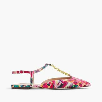 Pointed-toe flats with chain link in Ratti® painted pineapple $158 thestylecure.com
