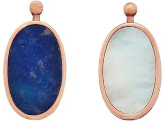 Mother of Pearl Marla Aaron Single Oval Lozenge with Lapis and Rose Gold