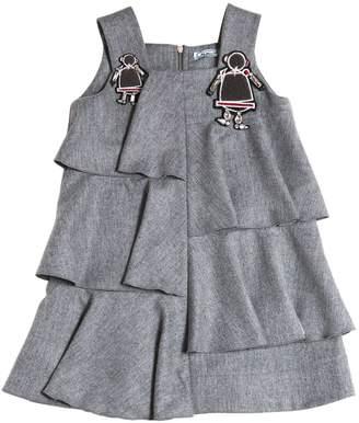 Embellished Wool Blend Flannel Dress