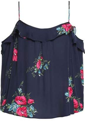 Joie Cold-Shoulder Ruffle-Trimmed Floral-Print Silk Top