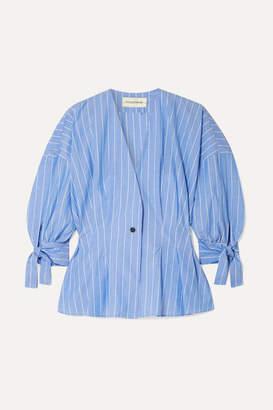 By Malene Birger Trivano Striped Cotton-poplin Blouse - Blue
