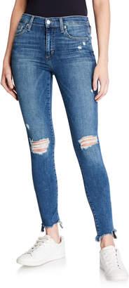 Joe Skinny Ankle Sharkbite-Hem Distressed Jeans