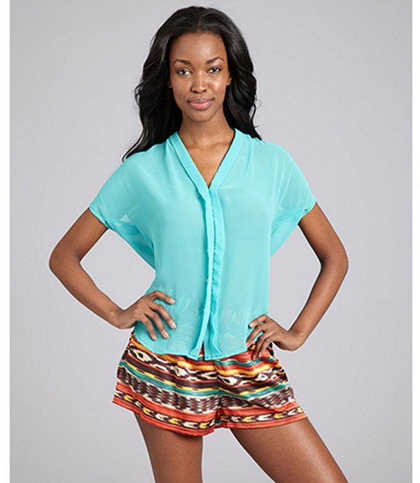 Wyatt teal chiffon button front blouse