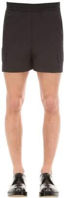 Neil Barrett Cropped Cotton Blend Techno Cargo Shorts
