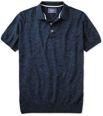 Charles Tyrwhitt Navy Blue Heather Short Sleeve Cotton Polo Collar Sweater Size Large
