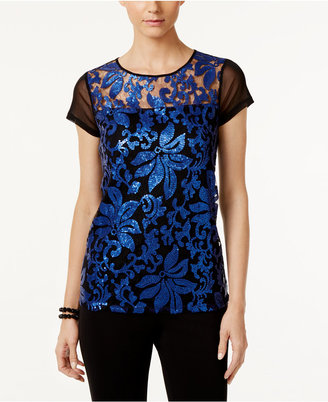 INC International Concepts Sequined Lace Top, Only at Macy's $79.50 thestylecure.com