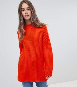 Asos DESIGN Petite chunky sweater in rib with crew neck