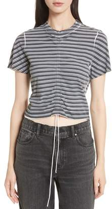 Alexander Wang Ruched Stripe Cotton Tee
