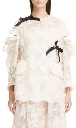 Simone Rocha Cold Shoulder Corded Lace Jacket