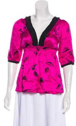 Yumi Kim Pleat-Accented Printed Silk Top w/ Tags