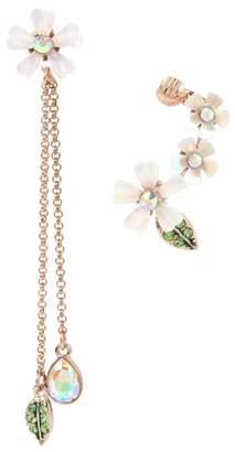 Betsey Johnson Flower Mismatched Cuff & Drop Earrings