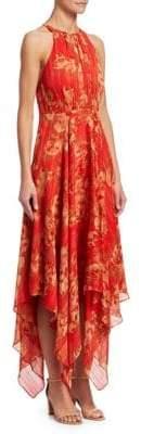 Halston Printed Halter Gown