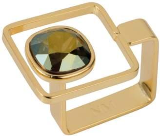 Nadia Minkoff - Square Frame Ring Gold Iridescent Green
