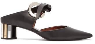 Proenza Schouler - Front Tie Block Heel Leather Mules - Womens - Black