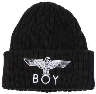 Boy London Logo Embroidered Knit Beanie Hat