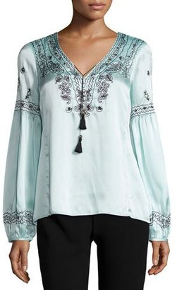 Nanette Lepore Long-Sleeve Embroidered Silk Satin Top, Blue/Black $378 thestylecure.com