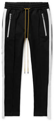 Rhude Traxedo Skinny-Fit Webbing-Trimmed Stretch-Satin Jersey Sweatpants