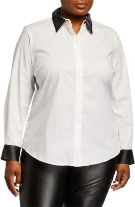 Go Silk Plus Size Shirt with Faux-Leather Trim