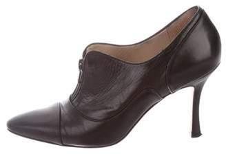 Manolo Blahnik Leather Pointed-Toe Booties