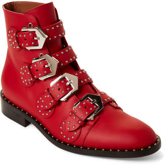 Givenchy Buckle Studded Leather Ankle Boots