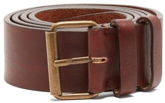 Ami Wide Patina Leather Belt - Mens - Brown