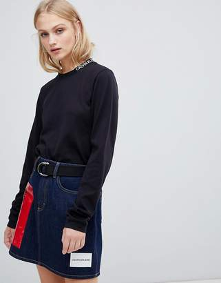 Calvin Klein Jeans long sleeve top with neck logo detail