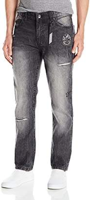 Southpole Men's Slim Straight Denim with Destructed and Embellished Patches