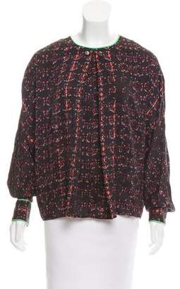 Tanya Taylor Collarless Printed Top