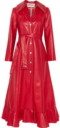 Ruffled Faux Leather Coat - Red