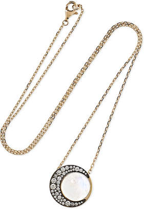 Noor Fares - Tilsam Eclipse 18-karat Gray Gold, Moonstone And Diamond Necklace