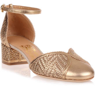 Salvatore Ferragamo Edda metallic gold leather sandal