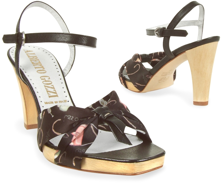 Alberto Gozzi Black Shoe Print Silk Platform Sandal Shoes