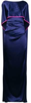 Talbot Runhof sheen long cape dress