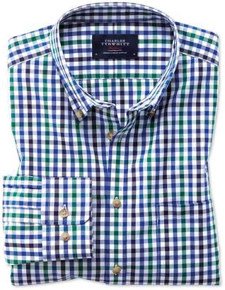Charles Tyrwhitt Classic Fit Button-Down Non-Iron Poplin Blue and Green Gingham Cotton Casual Shirt Single Cuff Size Large