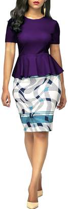 KISSMODA Women's Crew Neck Peplum Short Sleeve Office Work Bodycon Print Dress