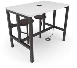OFM Endure Series Model 9004-2S Standing Height 2 Seat Table, White Dry-Erase Top with Walnut Seats
