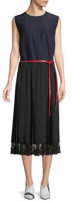 Marc Jacobs Sleeveless Belted A-Line Pleated Silk Dress w/ Lace Hem