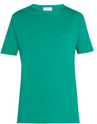 Officine Generale Crew Neck Cotton T Shirt - Mens - Green
