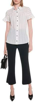 Textured Stripe Frill Sleeve Shirt