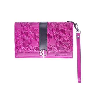 Drew Lennox - Pink & Black English Leather Clutch Bag, Travel Wallet