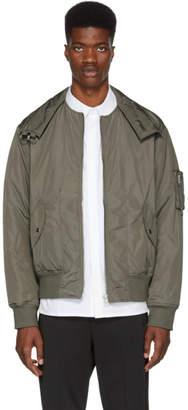 Helmut Lang Grey Panel Neck Bomber Jacket