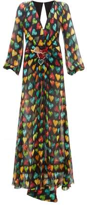 Versace Heart Print Embellished Plaque Silk Chiffon Gown - Womens - Black Multi