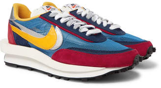 Nike + Sacai Ldv Waffle Mesh, Suede And Leather Sneakers - Blue