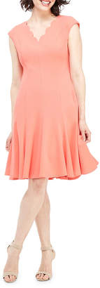 Maggy London Scalloped V-Neck Fit-&-Flare Dress