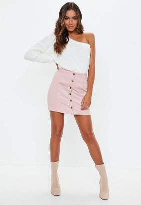 Missguided Petite Pink Cord Button Through Skirt