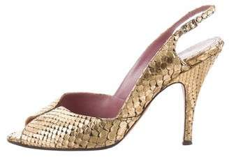 Jean-Michel Cazabat Metallic Python Peep-Toe Pumps